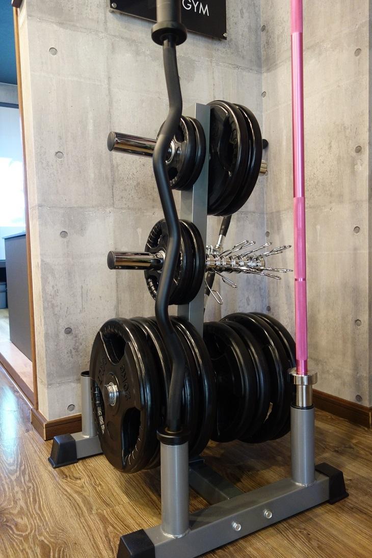 ラバープレート237.5kg/EZバー/女性用アルミバー8kg(1.8m 耐荷重80kg )